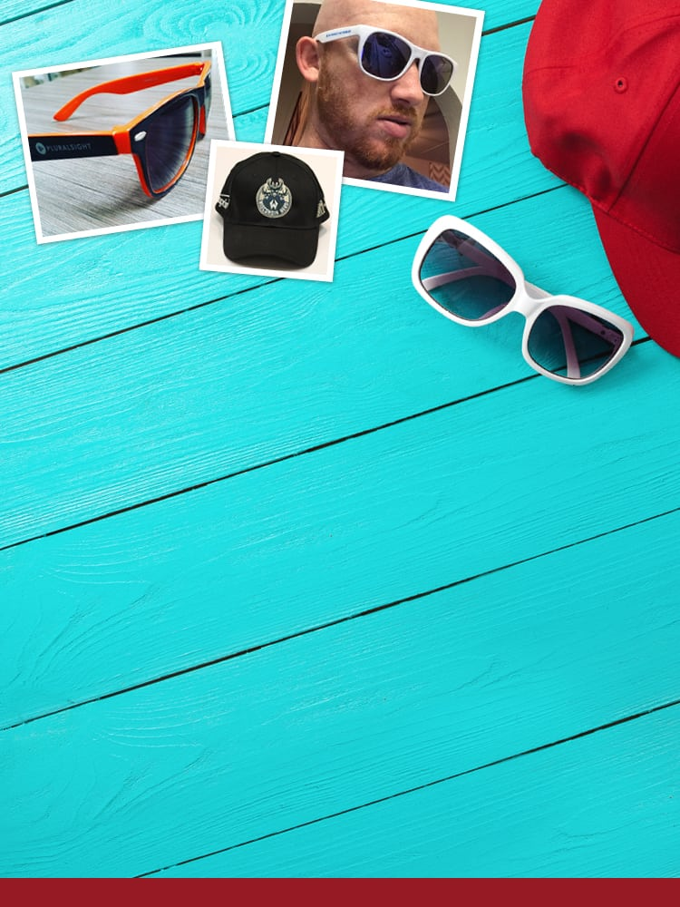 Collage of hats and sunglasses.