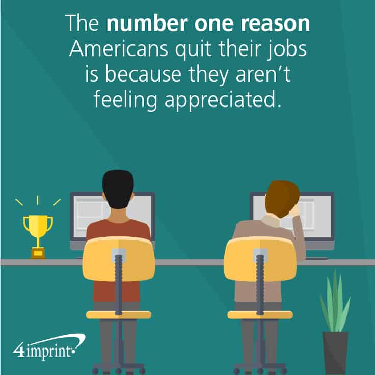 The number one reason Americans quit their jobs is because they aren't feeling appreciated. Awards and Recognition for Employees can help show your appreciation to team members.