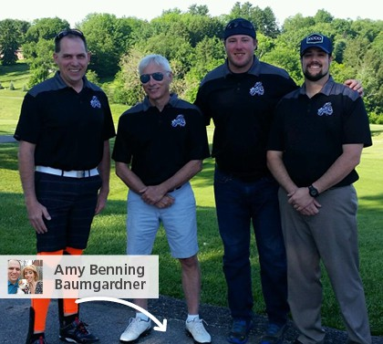 Joe Safety golf outing team wearing branded 4imprint t-shirts