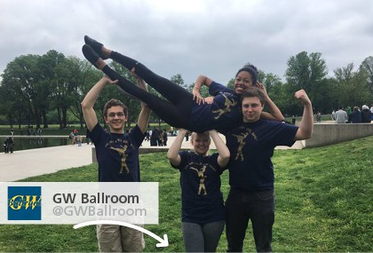 GW Ballroom showing off their new 4imprint t-shirts