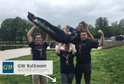 GW Ballroom showing off their new 4imprint t-shirts