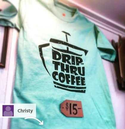Drip-Thru Coffee displaying their 4imprint t-shirts