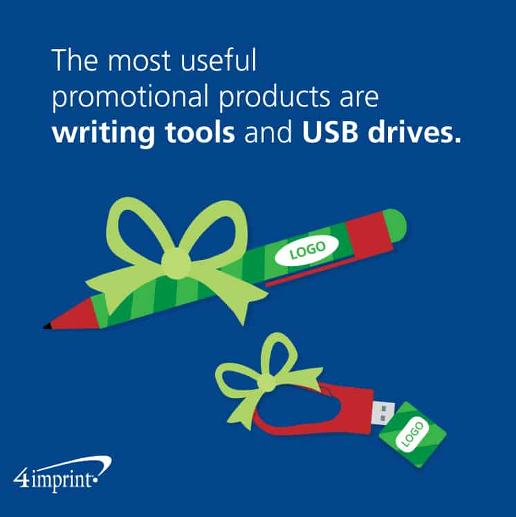 The most useful promotional products are writing tools and USB drives.