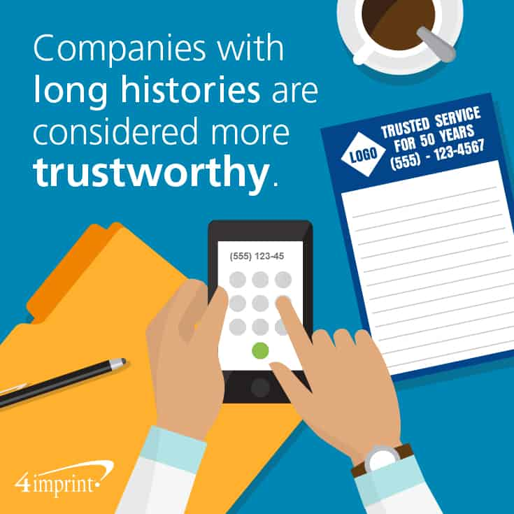 Companies with long histories are considered more trustworthy.
