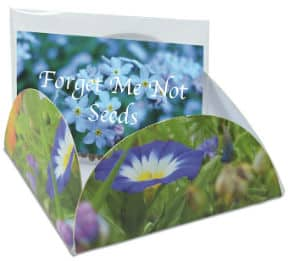 A Say It With Seeds Packet decorated with flowers from 4imprint.