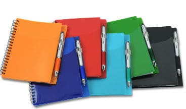 A multi-colored array of Sorbet Pocket Notebook with Curvy Stylus Pen from 4imprint.