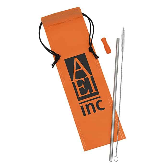 Stainless Steel Straw Set | 4imprint branded reusable straws