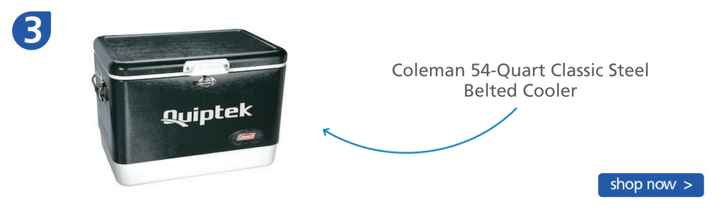 Number three: steel Coleman black and white belted cooler