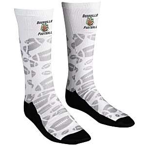 Unisex Patterned Socks – Football | 4imprint cool branded socks