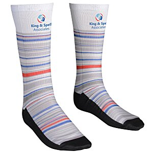 Unisex Patterned Socks – Stripes | Custom logo socks from 4imprint