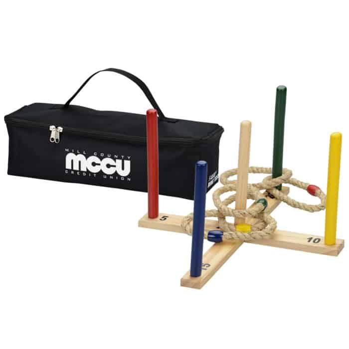 Wooden Ring Toss Game can be a fun corporate holiday gift.
