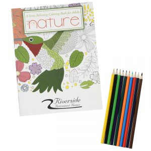 Coloring books may be purchased as a package with pencils.