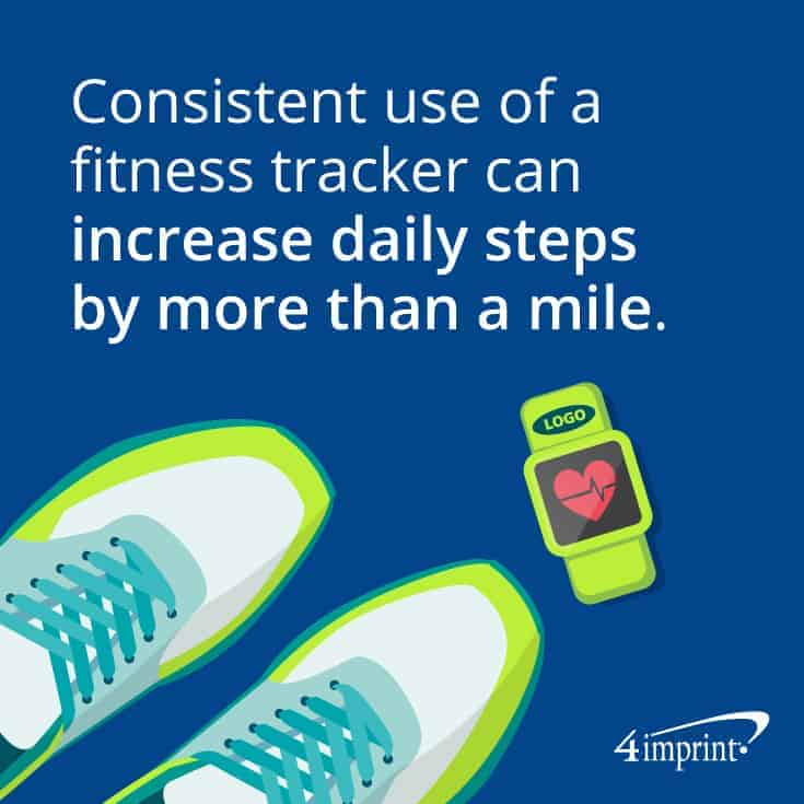 Fitness tracker next to a pair of sneakers.