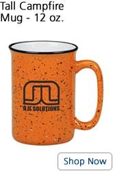 Tall orange campfire mug