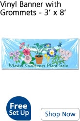 3 foot by 8 foot vinyl banner with grommets