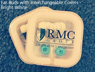 White ear buds with interchangeable green covers in a square container