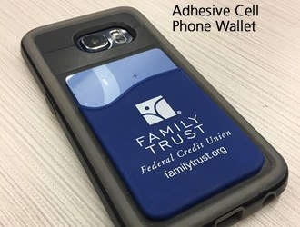 Blue adhesive cell phone wallet